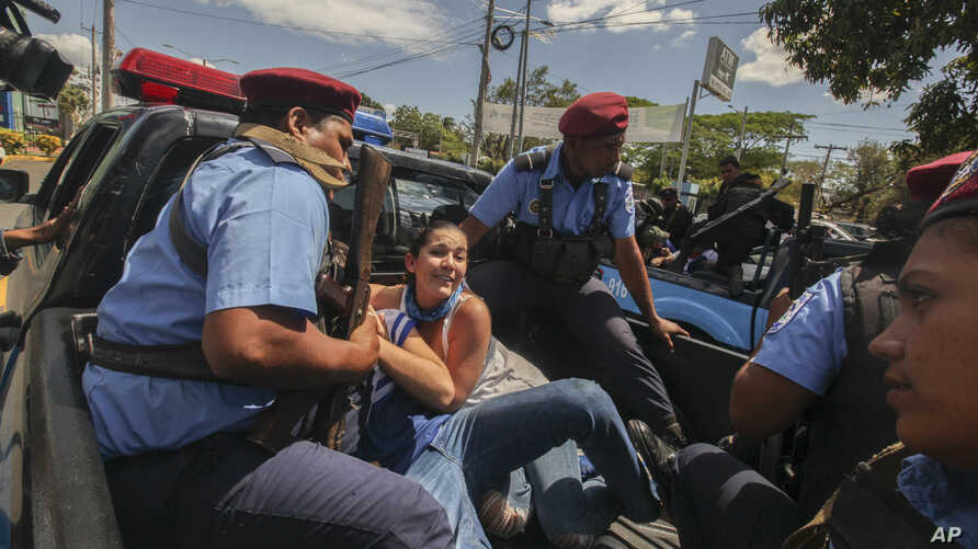 Police detain protesters in Managua, Nicaragua, March 16, 2019