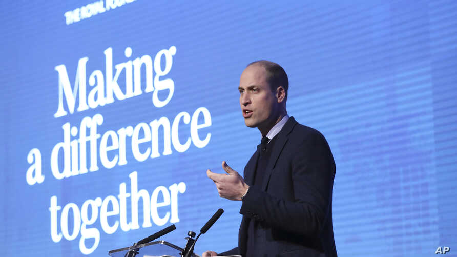 Britain's Prince William makes a speech during the first annual Royal Foundation Forum in London, Feb. 28, 2018.