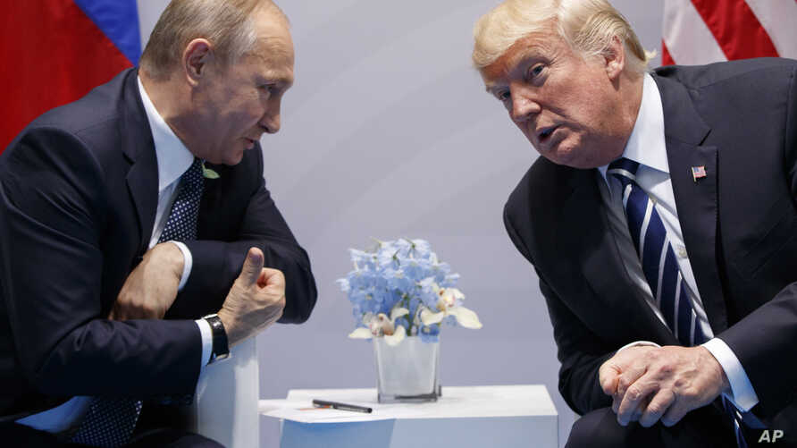 U.S. President Donald Trump meets with Russian President Vladimir Putin at the G-20 Summit, July 7, 2017, in Hamburg. Trump and Putin met for more than two hours.