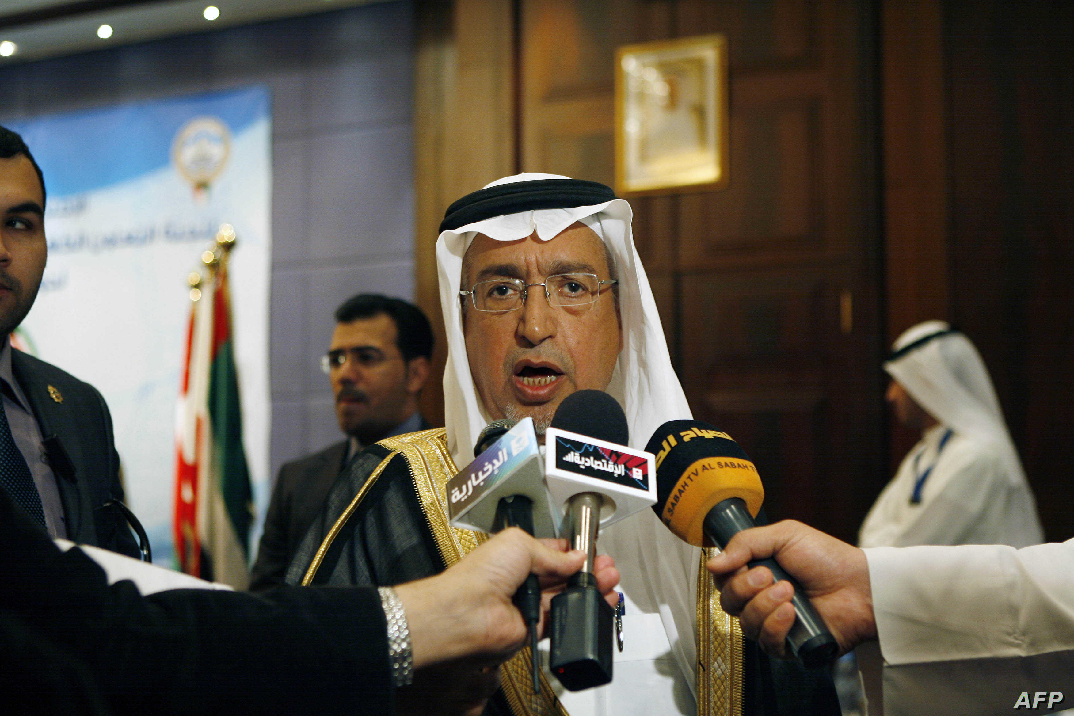FILE - This file photo taken on Nov. 30, 2010 shows Saudi Arabia's Minister of Electricity and Water Abdullah al-Hussayen speaking to the press in Kuwait City.