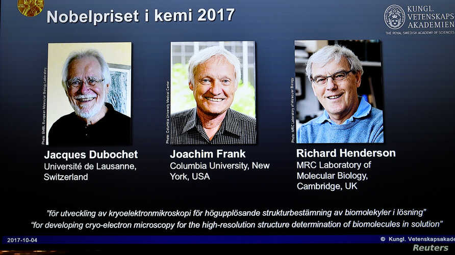 The names of Jacques Dubochet, Joachim Frank and Richard Henderson are displayed on the screen during the announcement of the winners of the Nobel Prize in Chemistry 2017, in Stockholm, Sweden, Oct. 4, 2017.