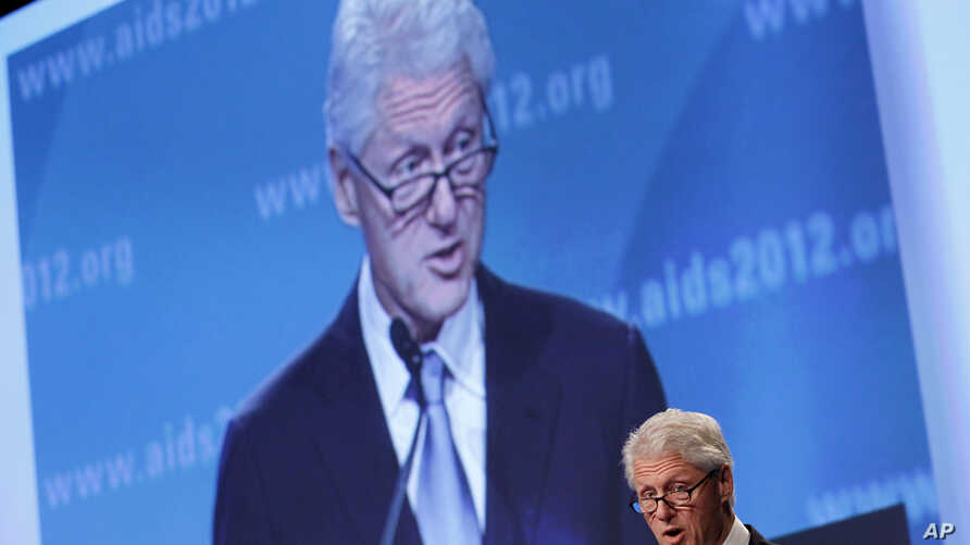 Former US president Bill Clinton speaks at the 2012 International AIDS Conference, Friday, July 27, 2012, in Washington, DC.