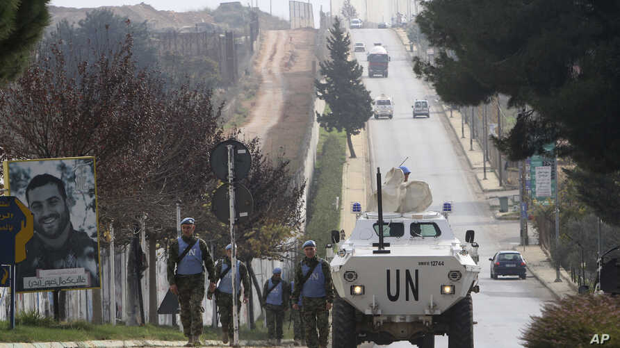 "Serbian U.N peacekeepers patrol the Lebanese side of the Lebanese-Israeli border in the southern village of Kfar Kila, Lebanon, Tuesday, Dec. 4, 2018. The Israeli military launched an operation on Tuesday to ""expose and thwart"" tunnels it says were b"