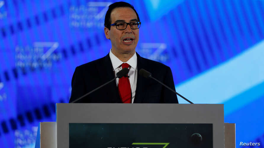 U.S. Secretary of the Treasury Steven Mnuchin speaks during the Future Investment Initiative conference in Riyadh, Saudi Arabia, Oct. 25, 2017.