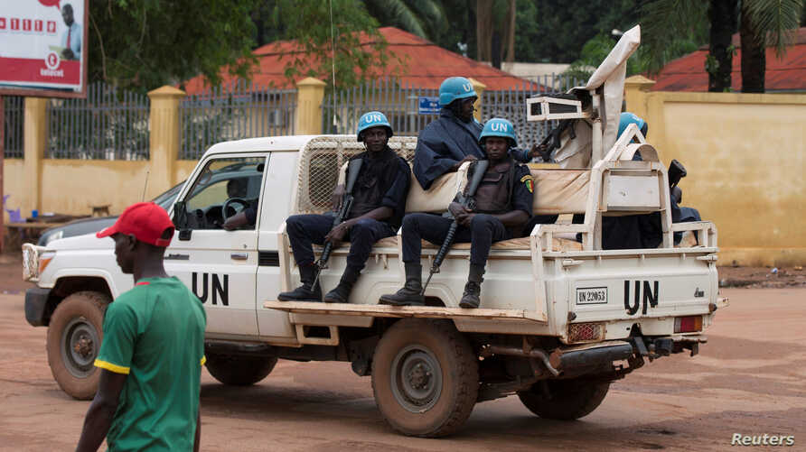 FILE - United Nations peacekeepers ride a pickup truck while on patrol in Bangui, Central African Republic, April 24, 2017. U.N. officials are expressing fears over rising ethnic tensions in the country.