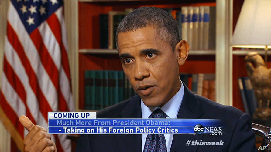 """In this image from video pre-taped at the White House in Washington Friday, September 13, 2013, for Sunday morning's ABC program """"This Week"""" President Barack Obama answers questions about pressing national and international issues."""