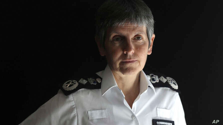 FILE - Commissioner of the Metropolitan Police Cressida Dick speaks during an interview with The Associated Press at New Scotland Yard, in London, June 10, 2017.