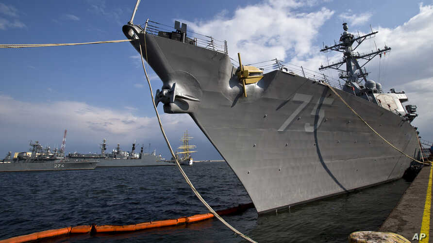 The USS Donald Cook is docked in the Black Sea port of Constanta, Romania, April 14, 2014.