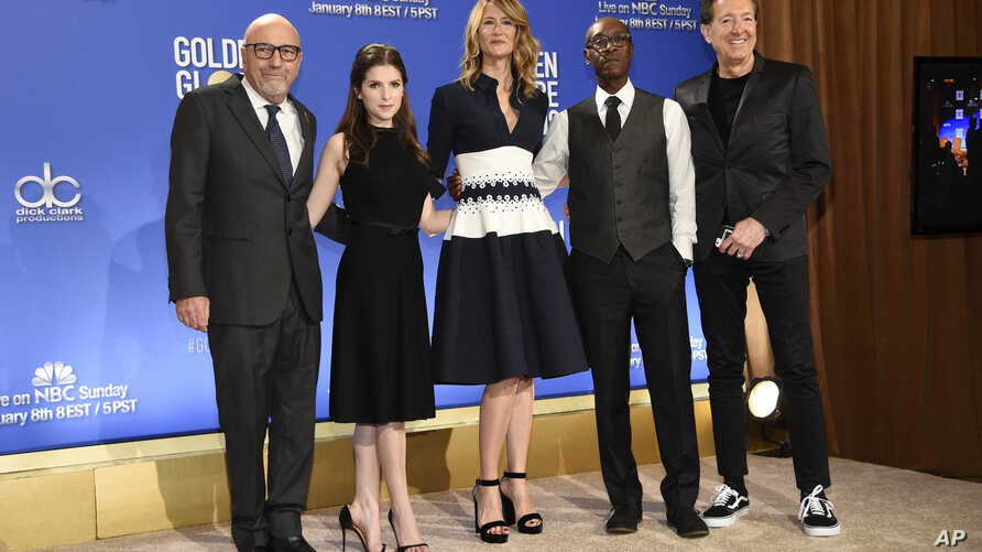 President of the Hollywood Foreign Press Association Lorenzo Soria, from left, Anna Kendrick, Laura Dern, Don Cheadle and EVP of Television for Dick Clark Productions Barry Adelman pose during the nominations for the 74th annual Golden Globe Awards a