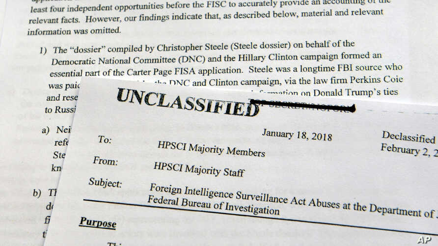 A intelligence memo is photographed in Washington, Friday, Feb. 2, 2018.