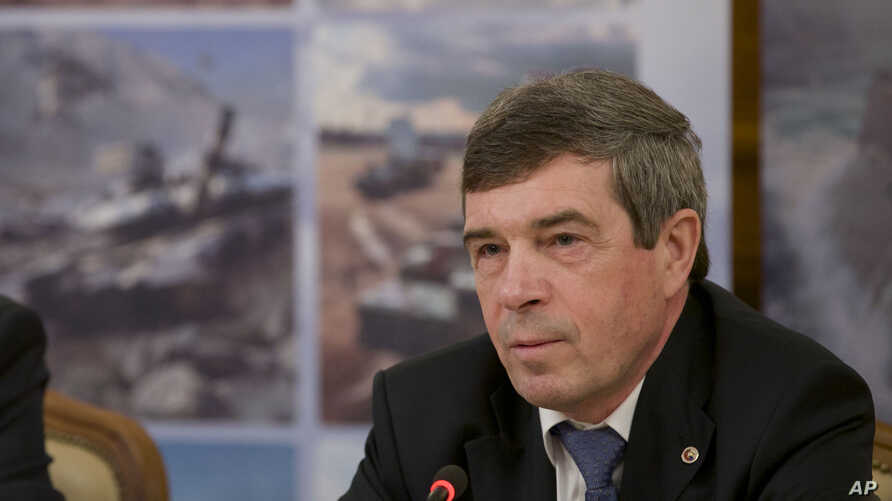 Anatoly Isaikin, the head of Russia's state arms trader Rosoboronexport, speaks at a news conference in Moscow, Russia, February 13, 2013.