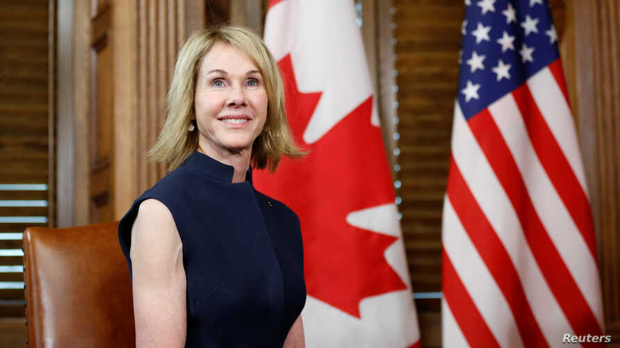 U.S. Ambassador to Canada Kelly Craft takes part in a meeting with Canada's Prime Minister Justin Trudeau on Parliament Hill in Ottawa, Canada, Nov. 3, 2017.