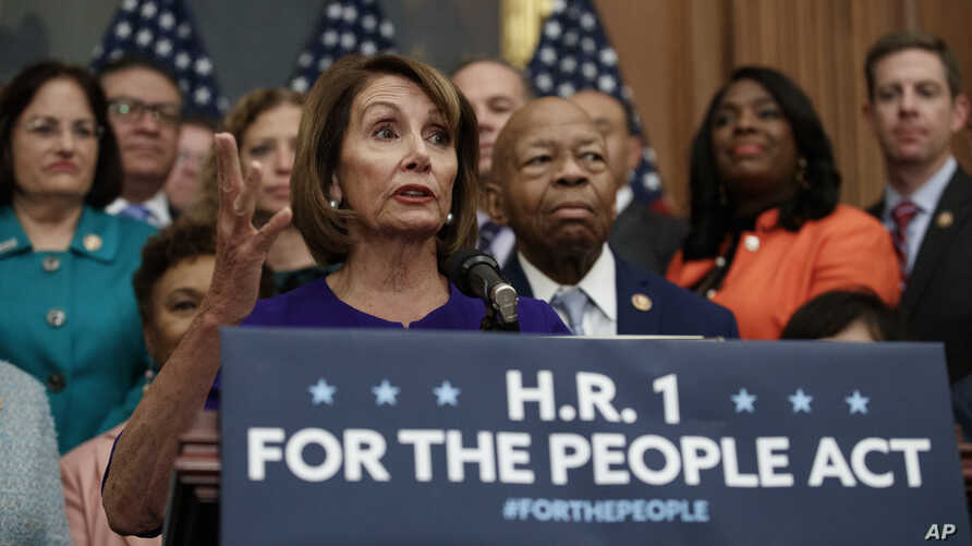 Speaker of the House Nancy Pelosi of California, speaks during a news conference on Capitol Hill in Washington, Jan. 4, 2019, about Introduction of H.R. 1 - For the People Act.