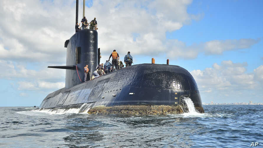This undated photo provided by the Argentina Navy shows an ARA San Juan, a German-built diesel-electric vessel, near Buenos Aires, Argentina. Argentina's navy said Nov. 17, 2017, it has lost contact with its ARA San Juan submarine off the country's s...