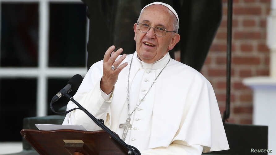 Pope Francis delivers remarks in front of Independence Hall in Philadelphia, Sept. 26, 2015.