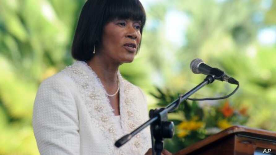 Jamaica's Prime Minister Portia Simpson Miller delivers her inaugural speech after being sworn in at King's House in Kingston, Jamaica, January 5, 2012.