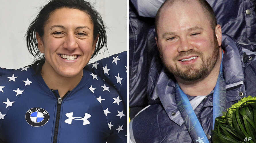 FILE - U.S. bobsledder Elana Meyers Taylor (L) celebrates after a women's World Cup race in Innsbruck, Austria, Feb. 4, 2017. At right, in a Feb. 27, 2010, file photo, U.S. bobsledder Steven Holcomb poses during the medal ceremony at the Vancouver 20