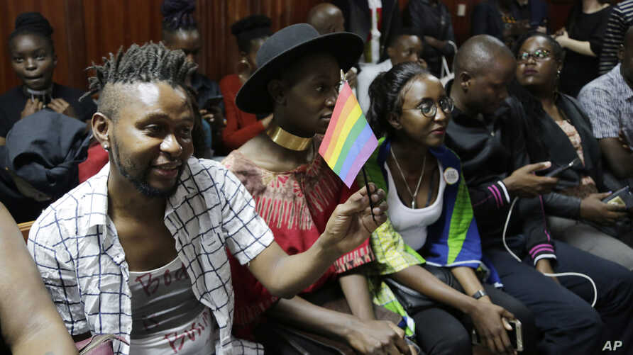 LGBT activists and supporters attend a Kenyan court ruling on whether to decriminalize same-sex relationships, in Nairobi, Kenya, Feb. 22, 2019.