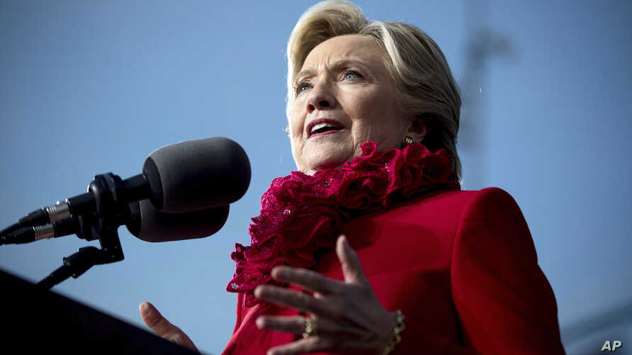 Democratic presidential candidate Hillary Clinton speaks at a rally at Smale Riverfront Park in Cincinnati, Ohio, Oct. 31, 2016.
