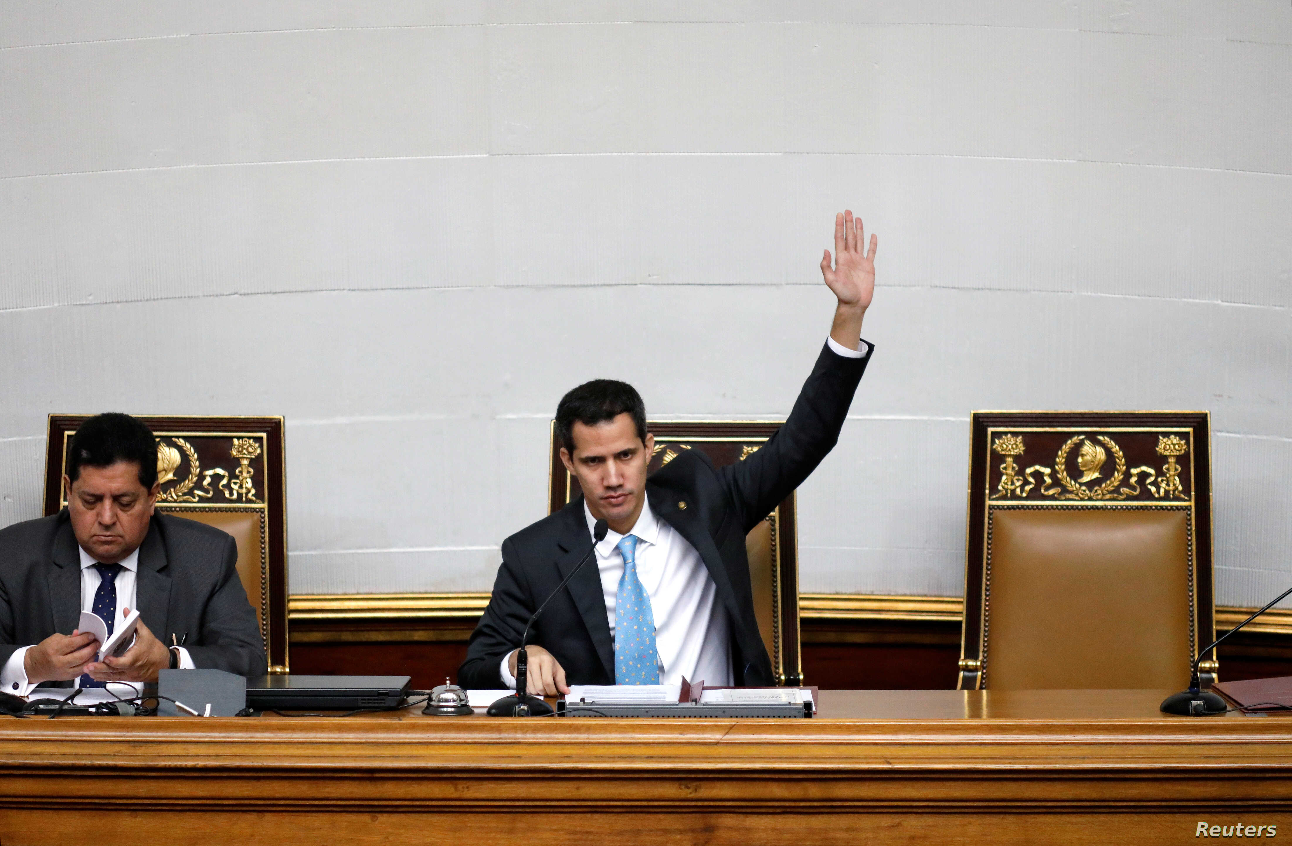 Juan Guaido, President of the Venezuela's National Assembly, attends a session in Caracas, Venezuela, Jan. 15, 2019.