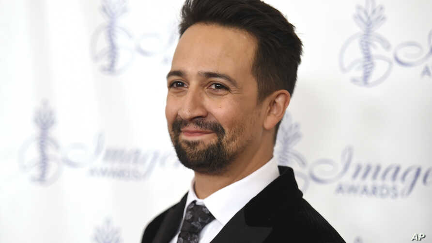 Lin-Manuel Miranda arrives at the 32nd annual Imagen Awards at the Beverly Wilshire Hotel, Aug. 18, 2017, in Beverly Hills, California.
