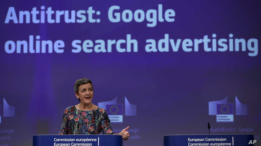 European Competition Commissioner Margrethe Vestager speaks during a media conference at EU headquarters in Brussels, Wednesday, March 20, 2019.