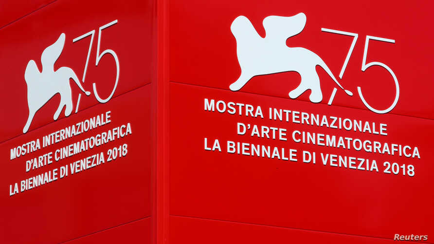 The logo of the 75th Venice Film Festival is seen in Venice, Italy, Aug. 28, 2018.
