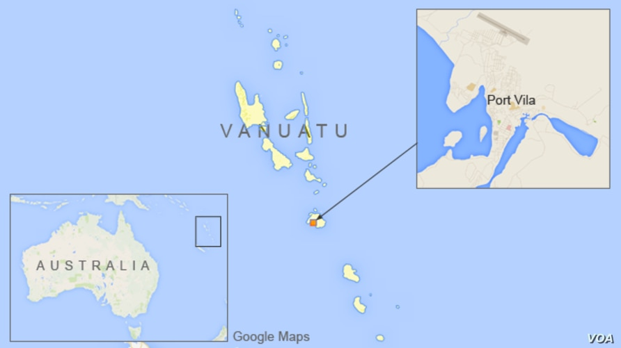 Map of Vanuatu showing location of Port Vila