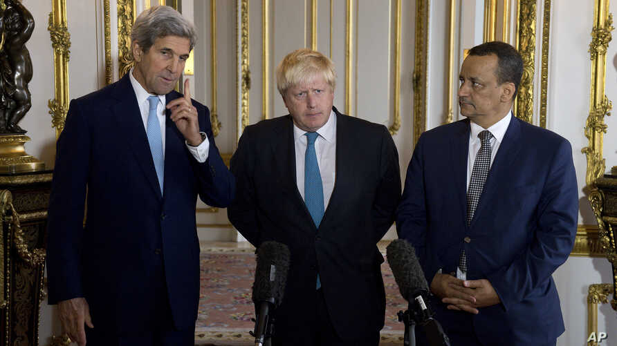 FILE - Making a joint statement on Yemen are, left to right, U.S. Secretary of State John Kerry, British Foreign Secretary Boris Johnson and U.N. Special Envoy for Yemen Ismail Ould Cheikh Ahmed, at Lancaster House in London, Oct. 16, 2016.