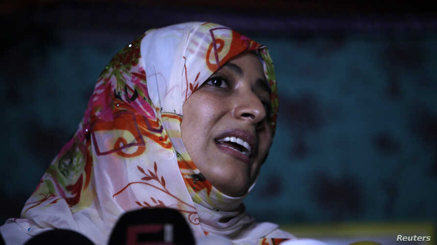 Activist and Nobel Peace Prize laureate Tawakul Karman, seen here at a protest camp in Sanaa on April 18, 2013, was barred from entering Egypt.