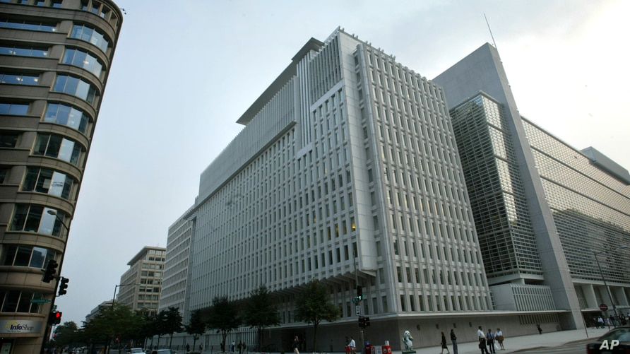 The World Bank headquarters, Wednesday, Aug. 4, 2004, in Washington. There are at least 33 outdoor closed circuit video cameras at street or roof level that overlook streets or parks, abutting the World Bank and International Monetary Fund complex. O