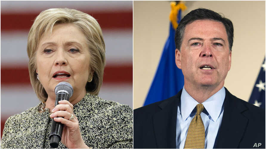 The U.S. Federal Bureau of Investigation says it is recommending no criminal charges be brought against Hillary Clinton, left, for her use of a private email server while she was secretary of state, FBI Director James Comey, right, said Tuesday.