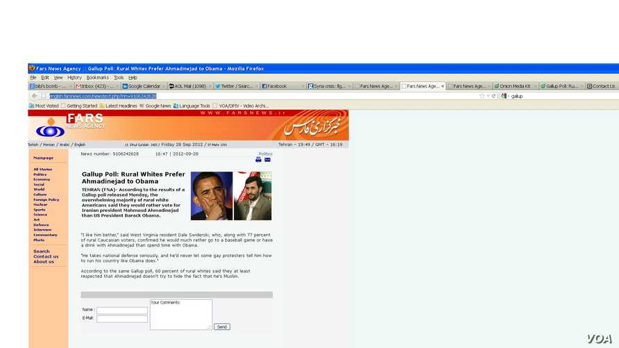 A screenshot of the Fars news service running what appears to be a story that originated from The Onion.