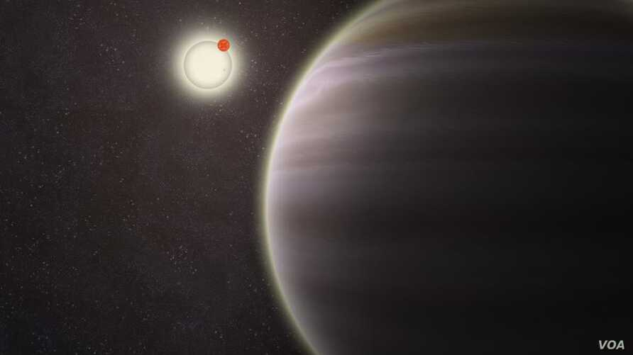 An artist's illustration of PH1, a planet discovered by volunteers from the Planet Hunters citizen science project. PH1, shown in the foreground, is the first reported case of a planet orbiting a double-star that, in turn, is orbited by a second dist