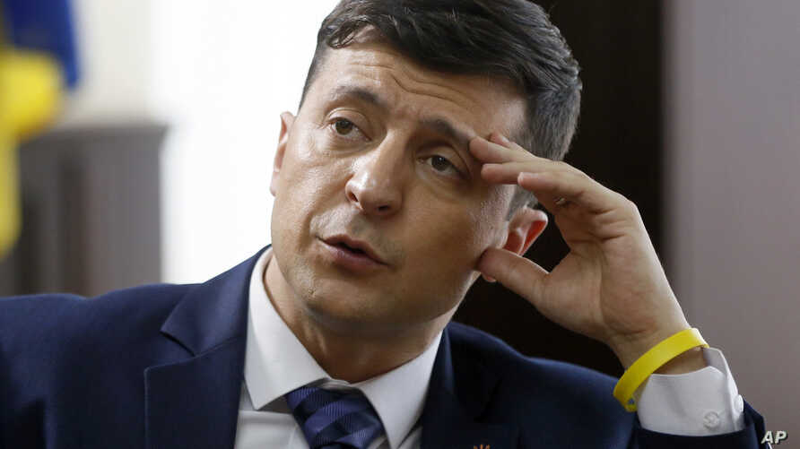 Ukrainian comedian Volodymyr Zelenskiy, who played the nation's president in a popular TV series, and is running for president in next month's election, is photographed on the set of a movie, in Kiev, Ukraine, Wednesday, Feb. 6, 2019.