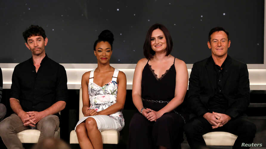 """FILE - Cast members (L-R) James Frain, Sonequa Martin-Green, Mary Chieffo and Jason Isaacs attend a panel for the television series """"Star Trek: Discovery"""" on set during the TCA CBS Summer Press Tour in Studio City, California, U.S"""
