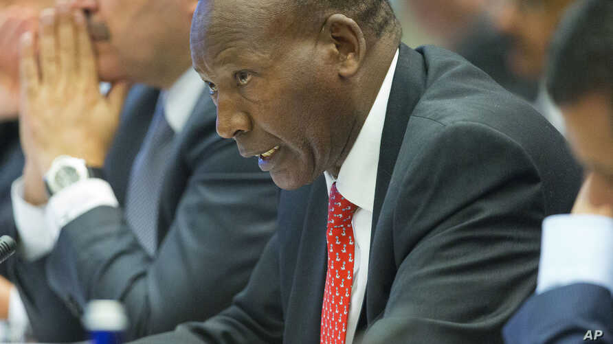 FILE - Joseph ole Nkaissery, Cabinet Secretary for Interior and Coordination of National Government for Kenya speaks at the Countering Violent Extremism (CVE) Summit, Feb. 19, 2015, at the State Department in Washington.