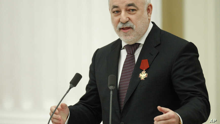 Russian tycoon, President of the Skolkovo Foundation Viktor Vekselberg, speaks during an awarding ceremony in Moscow's Kremlin, Russia, Feb. 21, 2011.