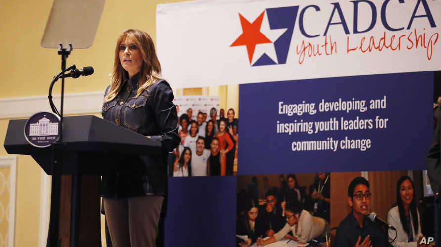 First lady Melania Trump speaks at the Community Anti-Drug Coalitions of America (CADCA) National Leadership Forum, in National Harbor, Md., Thursday, Feb. 7, 2019.
