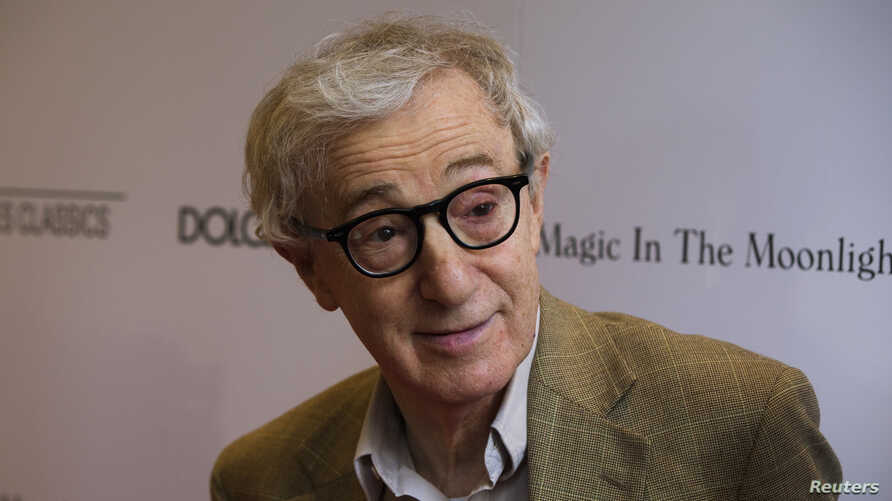 """Director Woody Allen arrives for the premiere of his film """"Magic in the Moonlight"""" in New York, July 17, 2014."""