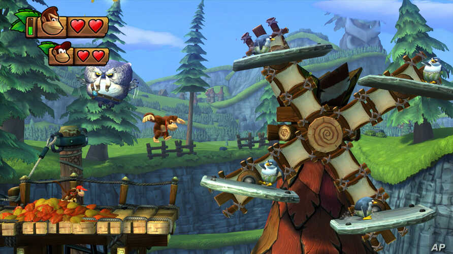 """FILE - This image released by Nintendo shows a scene from """"Donkey Kong Country: Tropical Freeze."""""""