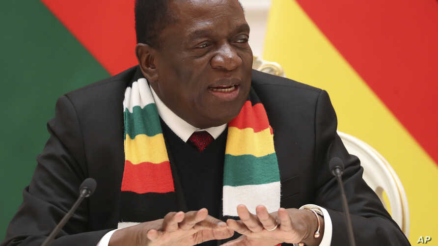 Zimbabwe's President Emmerson Mnangagwa speaks during a meeting with Belarus' President Alexander Lukashenko in Minsk, Belarus, Jan. 17, 2019.