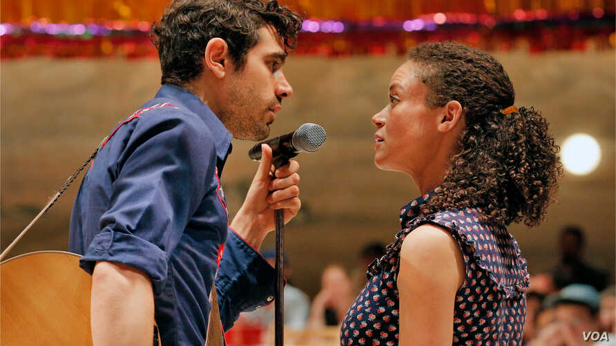 Damon Daunno as Curly and Amber Gray as Laurey perform in Rodgers and Hammerstein's 'Oklahoma!' at the Bard SummerScape Festival in New York.