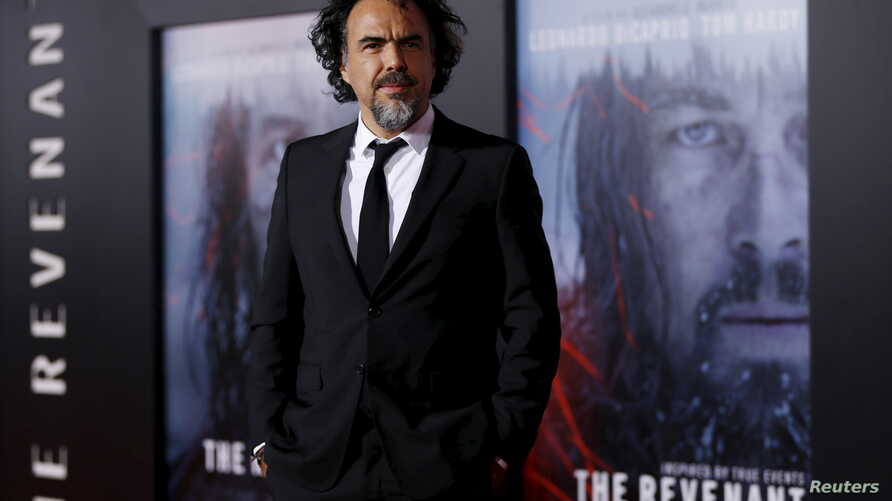 """Director of the movie Alejandro Gonzalez Inarritu poses at the premiere of """"The Revenant"""" in Hollywood, California, Dec.16, 2015."""