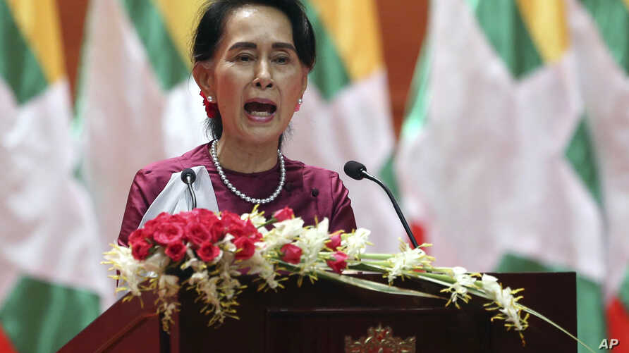 Myanmar's State Counselor Aung San Suu Kyi delivers a televised speech to the nation at the Myanmar International Convention Center in Naypyitaw, Myanmar, Sept. 19, 2017.