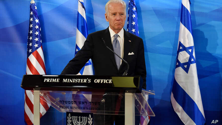 US Vice President Joe Biden and Israeli Prime Minister Benjamin Netanyahu, not seen, give joint statements in the prime minister's office in Jerusalem, March 9, 2016.
