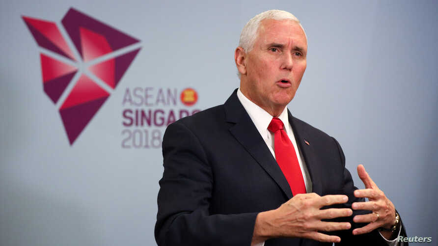 U.S. Vice President Mike Pence speaks during a news conference in Singapore, Nov. 15, 2018.