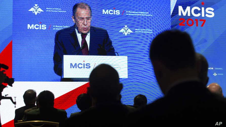 Russian Foreign Minister Sergey Lavrov is seen on a screen speaking at the Moscow Conference for International Security in Moscow, Russia, April 26, 2017.