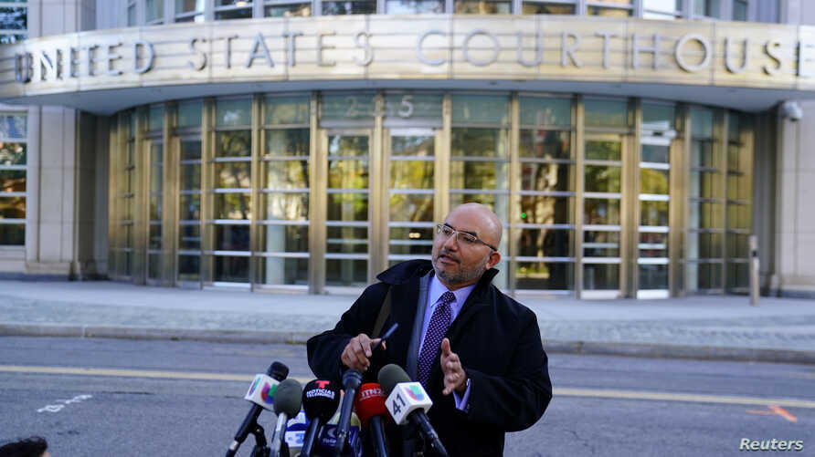 "Joaquin ""El Chapo"" Guzman's defense attorney Eduardo Balarezo speaks to the media outside United States District Court for the Eastern District of New York in the Brooklyn borough of New York, New York, Oct. 30, 2018."