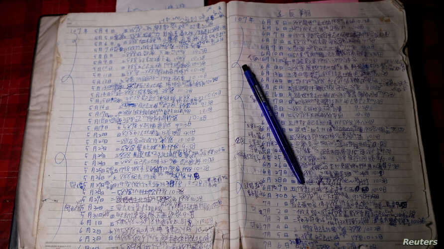 FILE - A notebook of 26-year-old Chen Hong-zhi, who suffers from short-term memory loss, shows his daily notes at his home in Hsinchu, Taiwan, July 31, 2018.